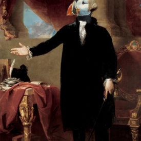 a Puffin head photoshopped onto a paintingof george washington